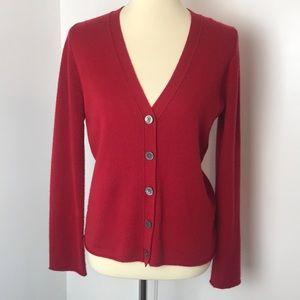 Banana Republic Red Cashmere Cardigan Sweater L